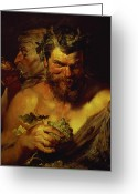 Rubens Painting Greeting Cards - Two Satyrs Greeting Card by Peter Paul Rubens