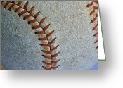Major Leagues Greeting Cards - Two Seamer Greeting Card by Bill Owen