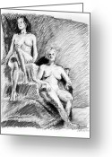 Nudes Drawings Greeting Cards - Two seated nudes figure drawing Greeting Card by Adam Long