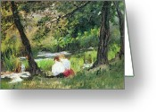 River Banks Greeting Cards - Two Seated Women Greeting Card by Mary Stevenson Cassatt