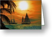 Sailboat Greeting Cards - Two Ships Passing in the Night Greeting Card by Bill Cannon