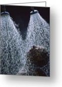 Appliances Greeting Cards - Two Showerheads Release A Torrent Greeting Card by Jonathan Blair