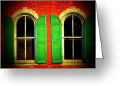 Building Detail Greeting Cards - Two Shutters Greeting Card by Michael L Kimble