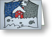 Chimney Pastels Greeting Cards - Two Sides Of Winter Greeting Card by Pat  Lackenbauer