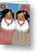 Island Cultural Art Greeting Cards - Two Sisters Greeting Card by Jennifer R S Andrade
