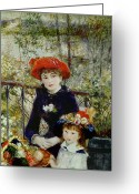 Pierre Auguste (1841-1919) Greeting Cards - Two Sisters Greeting Card by Pierre Auguste Renoir