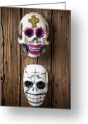 Faces Greeting Cards - Two skull masks Greeting Card by Garry Gay