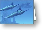 Sea Life Digital Art Greeting Cards - Two Sleek Blue Marlins Swim Close Greeting Card by Corey Ford