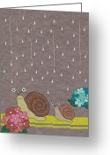 Yellow Line Greeting Cards - Two Snails In Rain Greeting Card by Miyako Matsuda