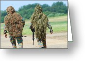 Camouflage Clothing Greeting Cards - Two Snipers Of The Belgian Army Dressed Greeting Card by Luc De Jaeger