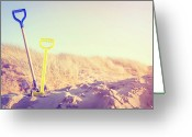 Shovel Greeting Cards - Two Spades In Sand On Beach Greeting Card by Sally Anscombe