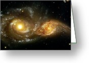 Telescope Images Greeting Cards - Two Spiral Galaxies Greeting Card by The  Vault