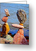 Steady Greeting Cards - Two Stacks of Balanced Rocks Greeting Card by Garry Gay