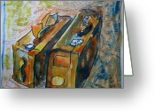 Tilly Strauss Greeting Cards - Two Suitcases with financial statements Greeting Card by Tilly Strauss