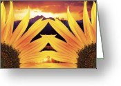 Sunset Wall Art Greeting Cards - Two Sunflower Sunset Greeting Card by James Bo Insogna