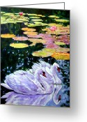 Swans Painting Greeting Cards - Two Swans in the Lilies Greeting Card by John Lautermilch