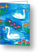 Sue Burgess Ceramics Greeting Cards - Two Swans Greeting Card by Sushila Burgess