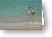 Swimsuits Greeting Cards - Two teenage girls bathing at the beach Greeting Card by Sami Sarkis