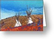 Montana Digital Art Greeting Cards - Two Teepees Greeting Card by Kae Cheatham