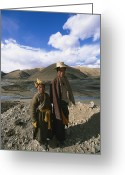 Headgear Greeting Cards - Two Tibetan Herders Near Litang Greeting Card by David Edwards