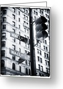 Traffic Light Greeting Cards - Two Times Wall St. Greeting Card by John Rizzuto