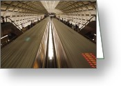 Number Circle Greeting Cards - Two Trains Passing In The Dupont Circle Greeting Card by Rich Reid