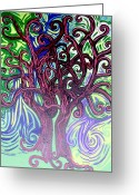 Maroon Greeting Cards - Two Trees Twining Greeting Card by Genevieve Esson