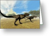 Animal Hunting Greeting Cards - Two Tyrannosaurus Rex Dinosaurs Greeting Card by Corey Ford