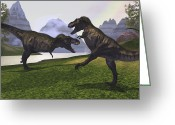 Animal Hunting Greeting Cards - Two Tyrannosaurus Rex Dinosaurs Fight Greeting Card by Corey Ford