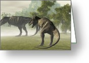 Animal Hunting Greeting Cards - Two Tyrannosaurus Rex Rest In The Early Greeting Card by Corey Ford