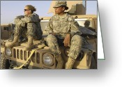 Camouflage Clothing Greeting Cards - Two U.s. Army Soldiers Relax Prior Greeting Card by Stocktrek Images