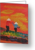 Clods Greeting Cards - Two Vietnamese Women Greeting Card by James Sutton
