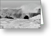 Storm Posters Greeting Cards - Two Waves Are Better Than One - Jersey Shore Greeting Card by Angie McKenzie