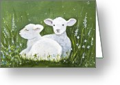 Fiber Art Greeting Cards - Two Wee Sheep Greeting Card by Virginia McLaren