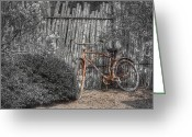 Cedar Fence Greeting Cards - Two Wheels Greeting Card by Scott Norris