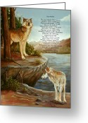 Landscape Posters Painting Greeting Cards - Two Wolves- poster Greeting Card by Dorothy Riley