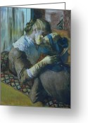 Caress Greeting Cards - Two Women Greeting Card by Edgar Degas