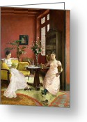Rugs Greeting Cards - Two Women Reading in an Interior  Greeting Card by Jean Georges Ferry