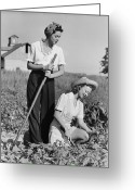 20-24 Years Greeting Cards - Two Women Working On Field, (b&w) Greeting Card by George Marks