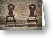 Old Wall Greeting Cards - Two wooden chairs Greeting Card by Joana Kruse