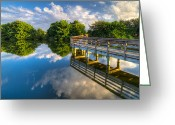 Florida Bridges Greeting Cards - Two Worlds at Wakodahatchee Greeting Card by Debra and Dave Vanderlaan