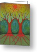 Vibrant Pastels Greeting Cards - Two Worlds Greeting Card by Wojtek Kowalski