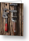 Wooden Board Greeting Cards - Two wrenches Greeting Card by Garry Gay