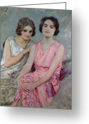 Twenties Greeting Cards - Two Young Women Seated Greeting Card by William Henry Margetson