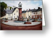 Clock Drawings Greeting Cards - Twyn Square Usk Greeting Card by Andrew Read