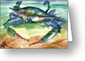 Blue Crab Greeting Cards - Tybee Blue Crab Greeting Card by Doris Blessington