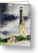 Savannah Artist Greeting Cards - Tybee Lighthouse Greeting Card by Gertrude Palmer