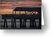Water Framed Prints Posters Greeting Cards - Tybee Pier Greeting Card by Gagan  Dhiman