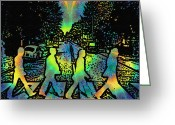 Ringo Greeting Cards - TyeDye Abbey Road Greeting Card by Bill Cannon