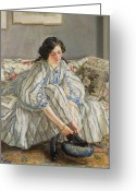 Tying Greeting Cards - Tying her Shoe Greeting Card by Sir Walter Russell